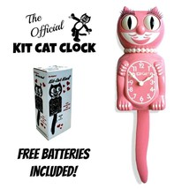 "STRAWBERRY GLAÇON LADY Kit Cat CLOCK 15.5"" Pink Free Battery USA MADE Ki... - $62.98"