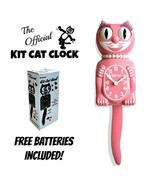 "STRAWBERRY GLAÇON LADY Kit Cat CLOCK 15.5"" Pink Free Battery USA MADE Ki... - £51.30 GBP"