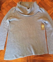 Vince Camuto  Women's L Large Sweater Blue Ribbed Knit Cowl Neck Pullover $89 - $49.99