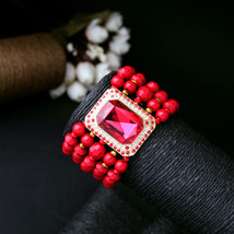 Amazing Nigerian New Fashion Red Red Beads Strand Wide Bracelet Romance ... - $12.47