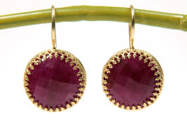 Ruby earrings,July birthstone,stone earrings,ruby jewelry,dangle earrings - $66.00+