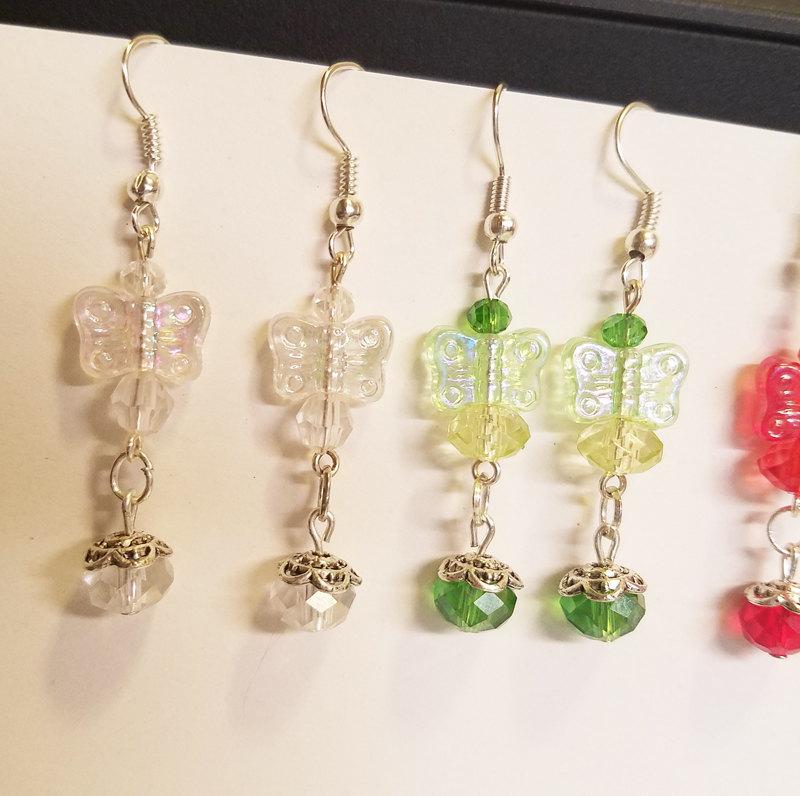 3 pr butterfly earrings lot bead drops dangles glass acrylic wholesale jewelry