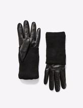 ARMANI EXCHANGE WOMEN'S AIX LONG LEATHER & KNIT GLOVES, Black Size M/L $... - $59.75