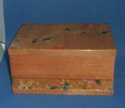 Vtg ~ Wooden Card / Memo Note Holder Trinket Box W/ Separate Compartment... - $20.79
