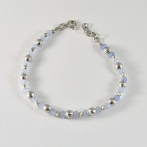 Silber Armband 925 Rhodium mit Kugeln von Silber Facettiert und Achat Blau - $50.25