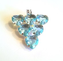 Aqua Blue Color Hearts Rhinestones Vintage Pin - $15.29