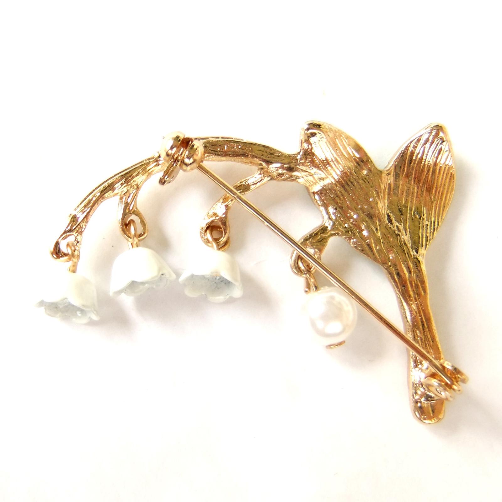 Lily of The Valley Green Leaf White Flower Lovely Elegant Enamel Brooch Pin Gift