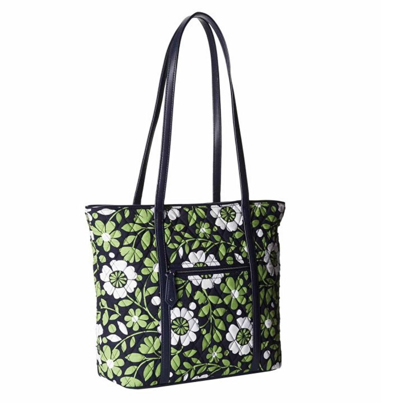 Vera Bradley Trimmed Vera Tote in Lucky You with Navy Interior