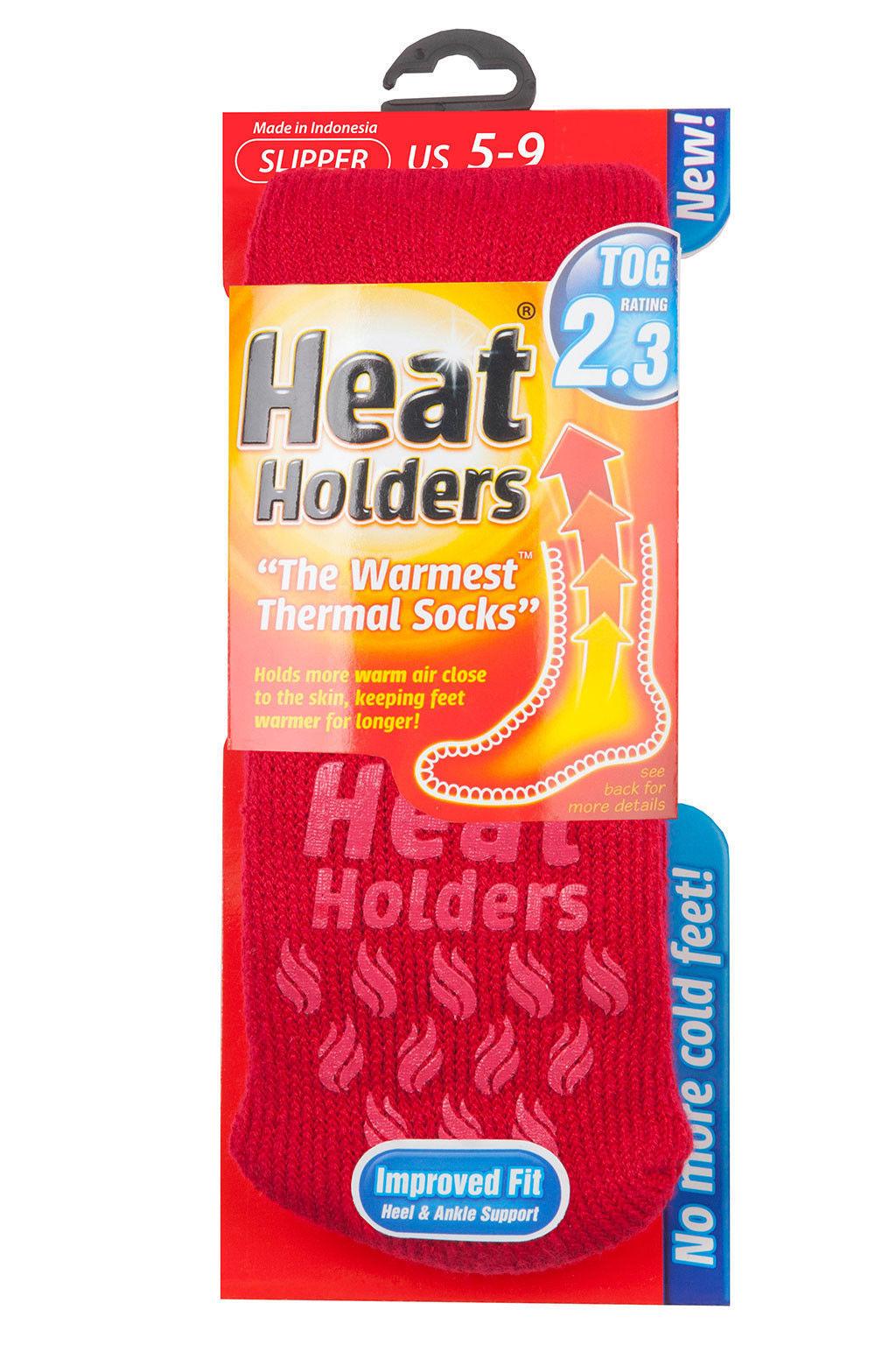 Heat Holders - Womens Winter Indoor Non Skid Thermal Gripper Slipper Socks 5-9US