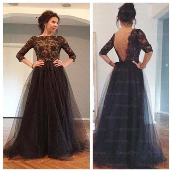 Black lace long sleeves tulle backless party long fashion prom dresses  evening dress  pd0015