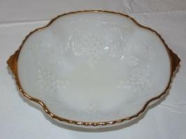 "Vintage Milk Glass 22K Gold Trim 10"" X 8 1/8"" Anchor Hocking Serving Bowl - $21.36"