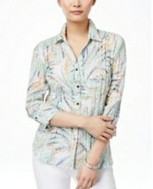 JM Collection Womens Size 16W Shirt Green Button Down Crinkle Top NWT $49 - $22.28