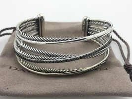 DAVID YURMAN Sterling Silver 925 Crossover Cuff Bracelet Black Diamonds - $799.99