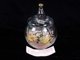 Viking Glass Fine Crystal Yellow Floral Covered Candy Jar, Yellow Rose, ... - $49.00