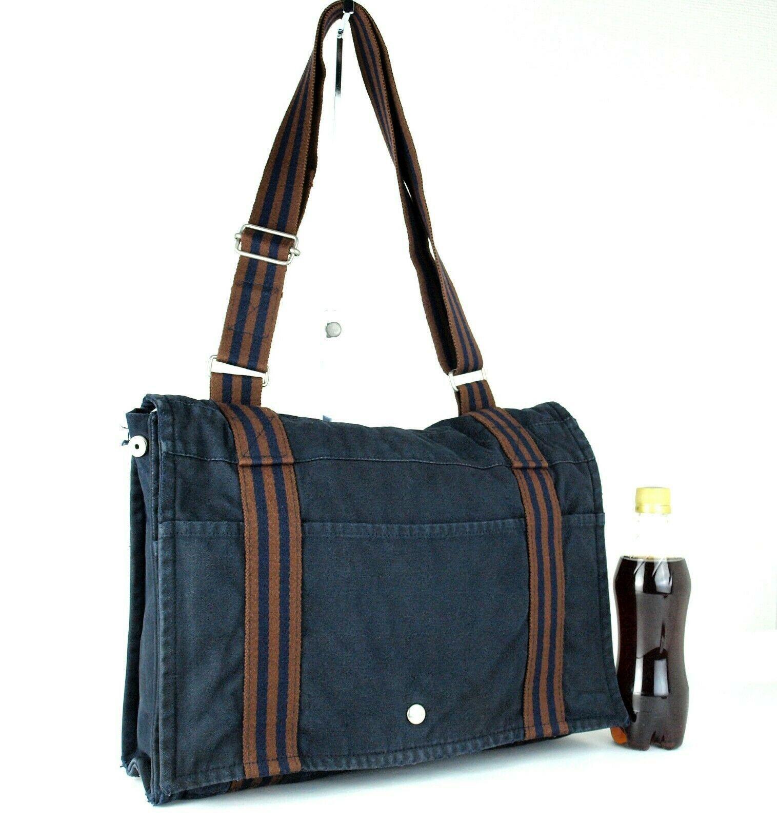 Auth Hermes Fool Toe Vassus MM Navy Cotton Canvas Shoulder Bag Purse France Used