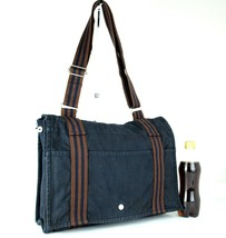 Auth Hermes Fool Toe Vassus MM Navy Cotton Canvas Shoulder Bag Purse France Used - $177.21