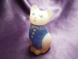 VIntage Fenton Mini Kitty Cat Burmese Cat w/ Blue Buttoned Sweater Signed - $34.65