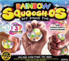 New Rainbow Squoosh-O's D.I.Y. Stress Toys Add Instant Snow/Colorful Beads NIB