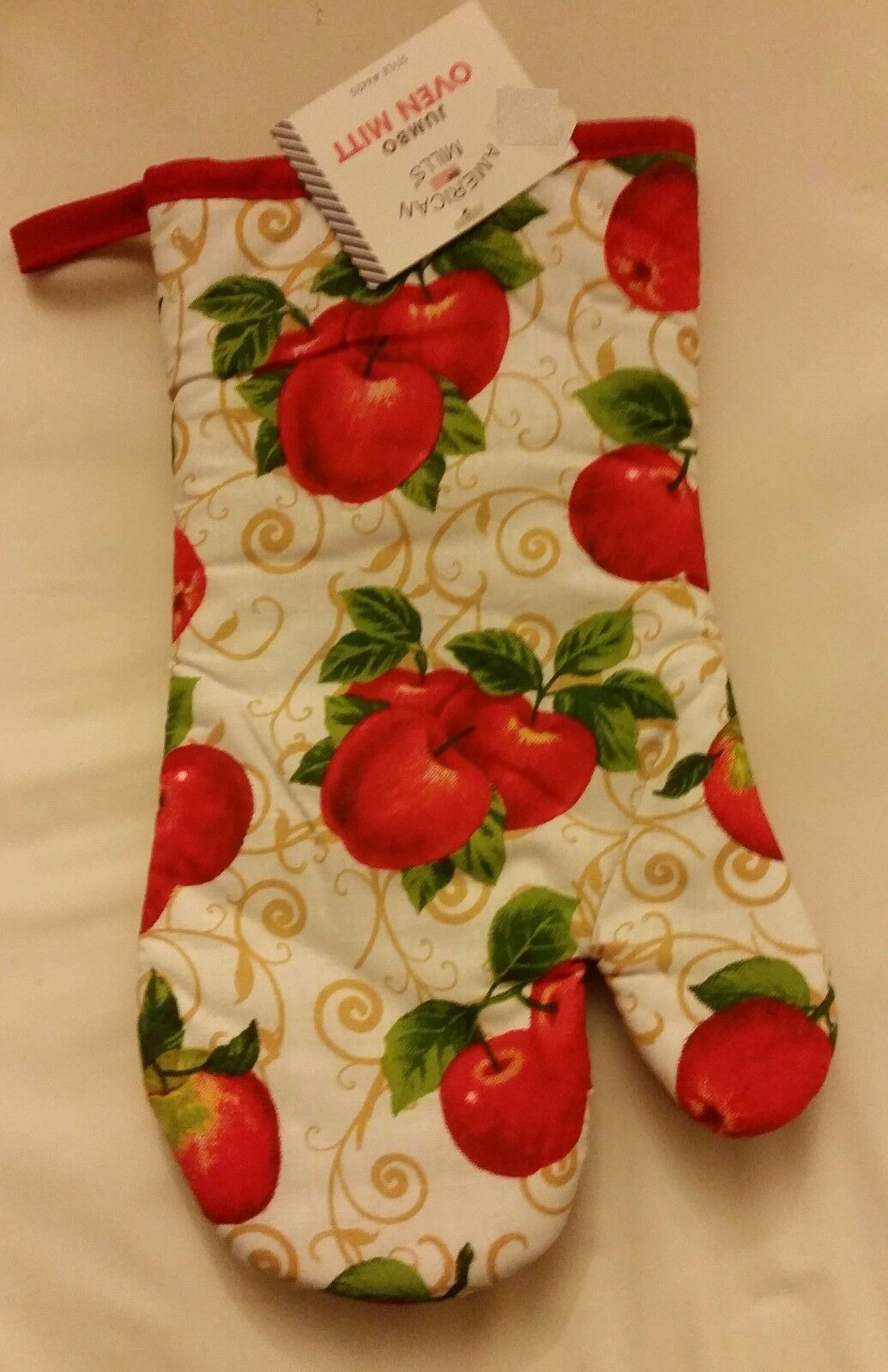 "Fabric Printed Kitchen 12"" Jumbo Oven Mitt, APPLES with red back by AM"