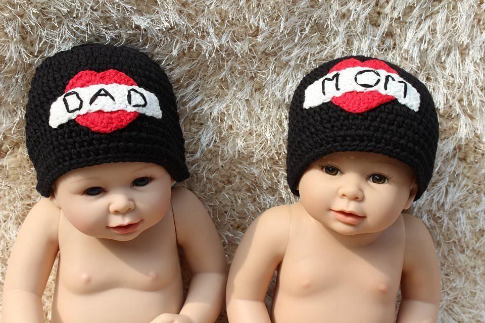 0eb1829dcce S l1600. S l1600. Previous. Knit Crochet Newborn Baby Child Kids Twins  Tattoo Heart Hat Cap Beanie ...