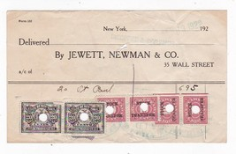 JEWETT, NEWMAN & CO. WITH STOCK TRANSFER STAMPS 1922 - $3.98
