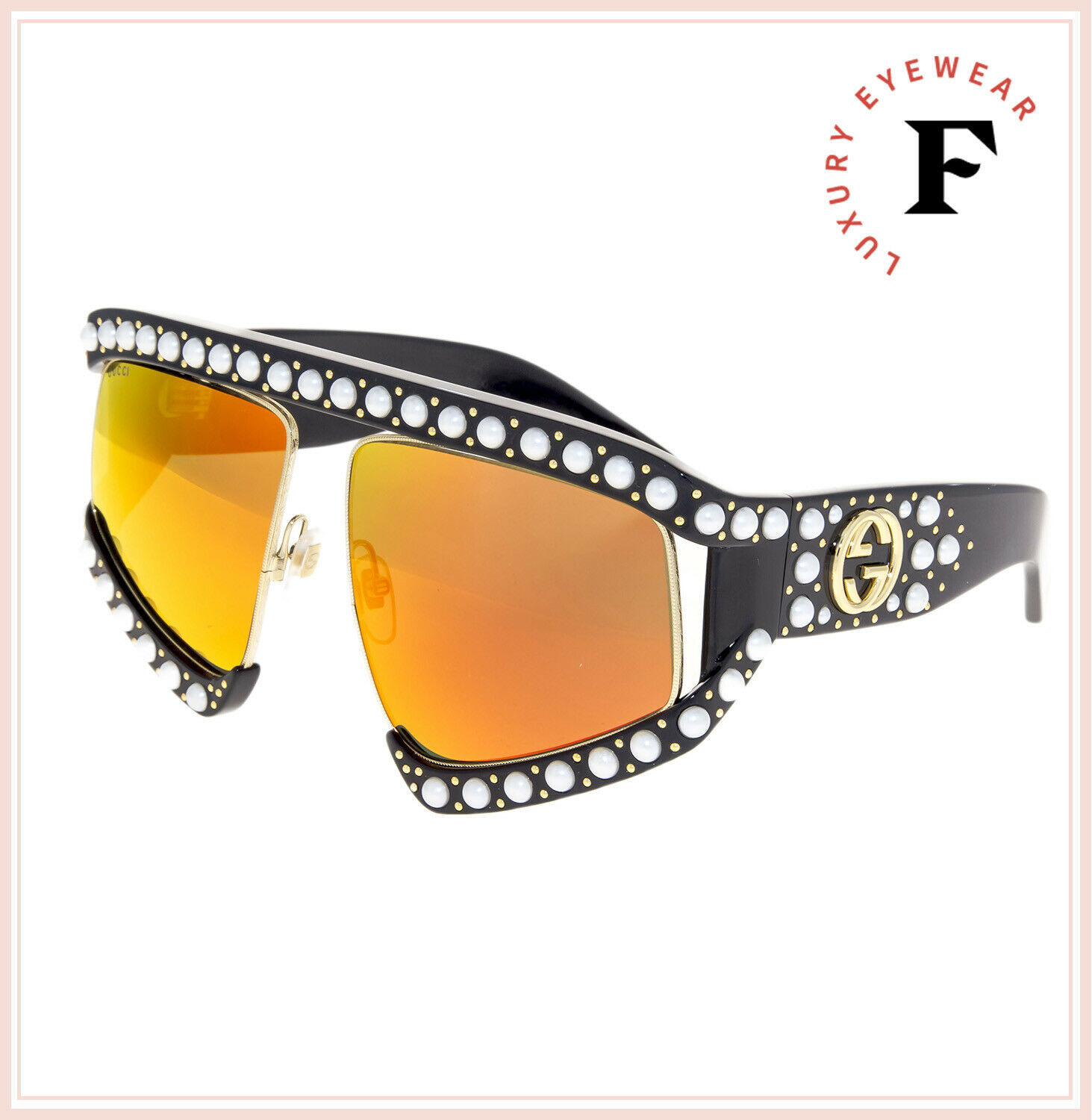 GUCCI HOLLYWOOD FOREVER 0234 Black Pearl Stud Orange Mirrored Sunglasses GG0234