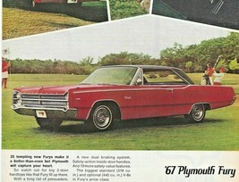 """Chrysler 67 Plymouth Fury  Full Page Vintage 1967 Print Ad 8"""" x 11""""  - $11.83"""