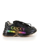 GUCCI Black Rhyton Leather Sneaker With Gucci Logo - $450.00