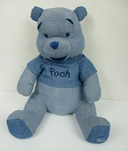 Disney Store Exclusive Winnie the Pooh Blue Plush 12 Inch Denim Sitting New Tags - $29.69