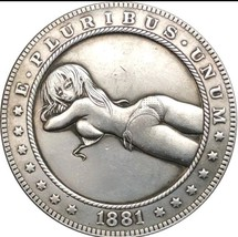 Hobo Nickel 1881 US Morgan Dollar Kinky Girl Bikini Sun Casted Coin Anim... - $11.99