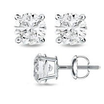 0.70CT F/VS2 Round Cut Genuine Diamonds 14K Solid White Gold Studs Earrings - $545.27