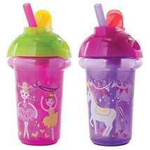 Munchkin Click Lock Flip Straw Cup, Pink/Purple, 9 Ounce, 2 Count - $12.47