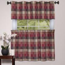 Kitchen Window Curtain Classic Harvard Checkered, Tiers or Valance Burgundy - $14.29