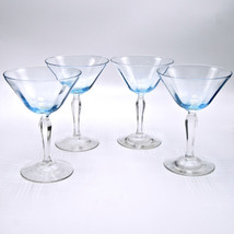 Fostoria Blue Champagne Tall Sherbet Glasses Set 4 Circa 1926 1927 5082 ... - $34.65