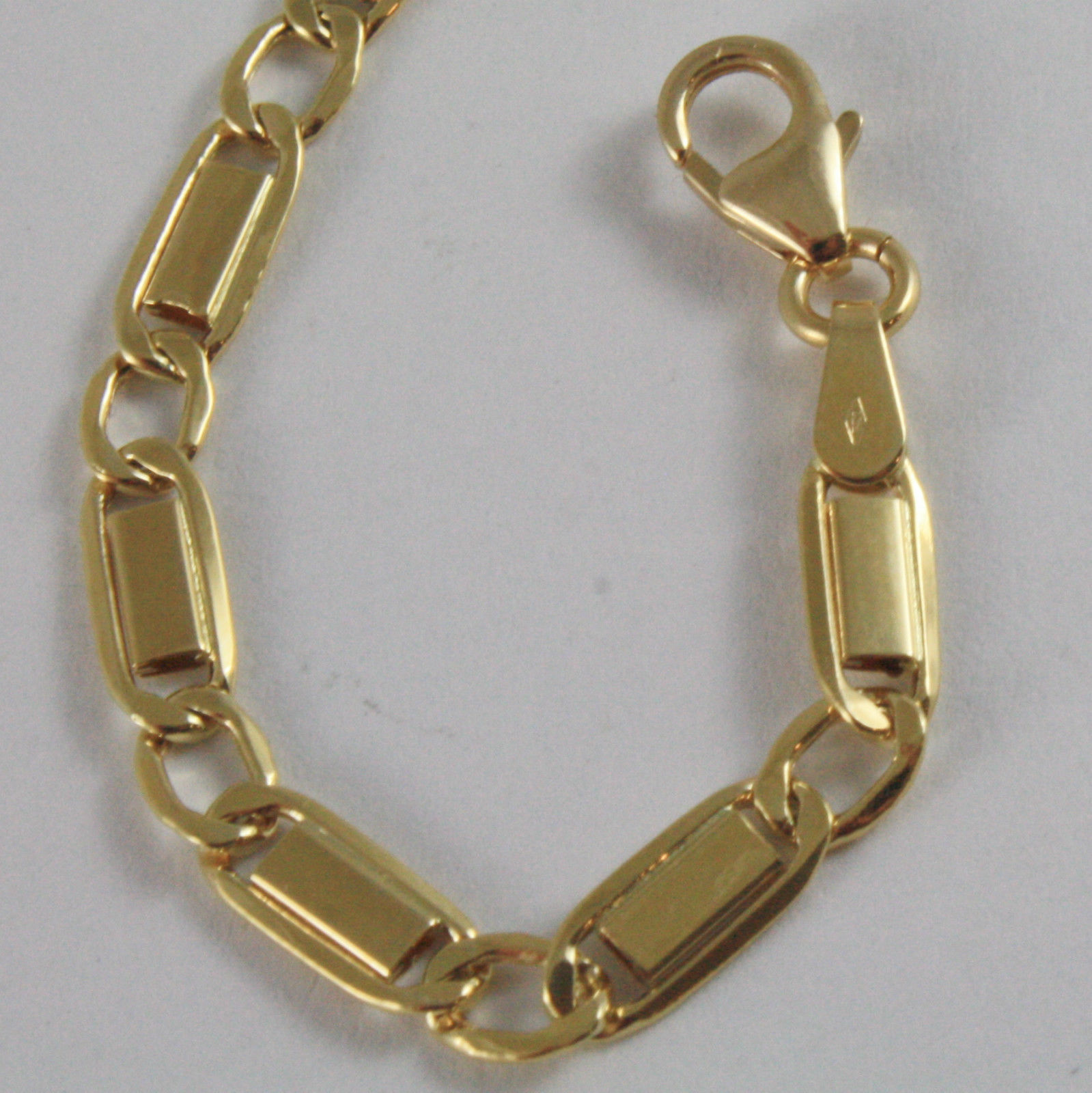 SOLID 18K YELLOW GOLD BRACELET WITH FLAT ALTERNATE 4 MM OVAL MESH, MADE IN ITALY