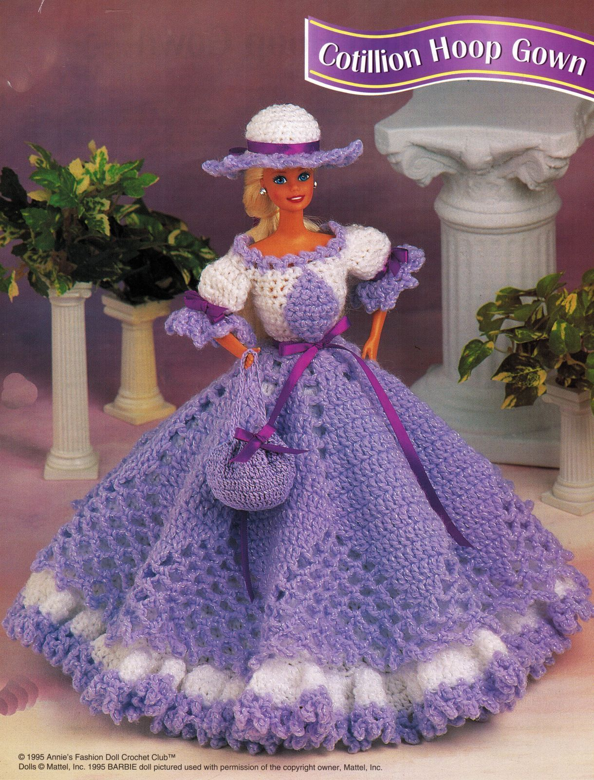 Victorian Cotillion Hoop 17th Century Barbie 11-1/2 Doll Clothes Crochet Pattern image 4
