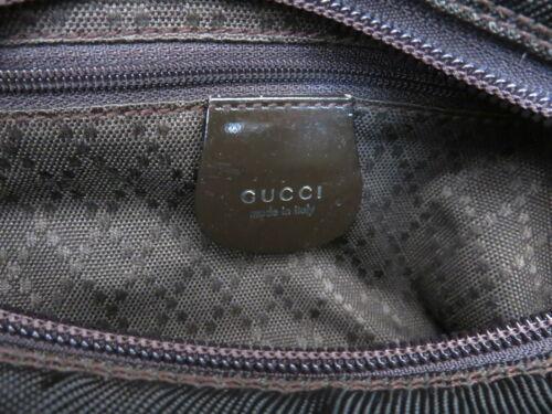 Authentic GUCCI Khaki Dark Brown Nylon Bamboo Handle Shoulder Bag Purse