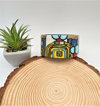 Painted Wooden Resin Bangle Bracelet inspired by Hundertwasser art. Jewe... - $41.58