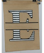 Kate Winston Brand Brown Burlap Monogram Black And White E Garden Flag - $16.00