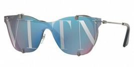 Valentino Women's VA2016 3005V2 Silver Purple Shield Metal Sunglasses 39mm - $212.43