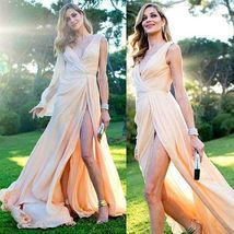 Sexy V Neck Side Split Cheap Long Bridesmaid Prom Dresses - $179.00