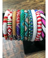 10 SET Nepal Rolls Glass Beaded bracelet crochet handmade bead bangle US... - $23.76