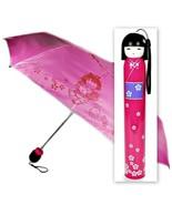 KOKESHI DOLL UMBRELLA Pink Folding w Hard Case Geisha Girl Japanese Lady... - $12.95