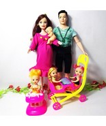 8 pcs Pregnant Barbie Doll Happy Family Toys Family Baby Carriage Mom an... - $20.28