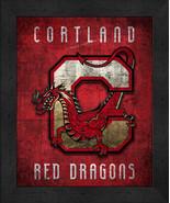 "Cortland Red Dragons ""Retro College Logo Map"" 13x16 Framed Print  - $39.95"