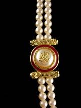 """LARGE designer pearl necklace / Richelieu enamel eagle  / 28""""  wedding jewelry / image 3"""
