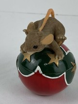 Charming Tails No Peeking Mouse Red Green Ball Ornament Trinket Box Fitz & Floyd - $19.79