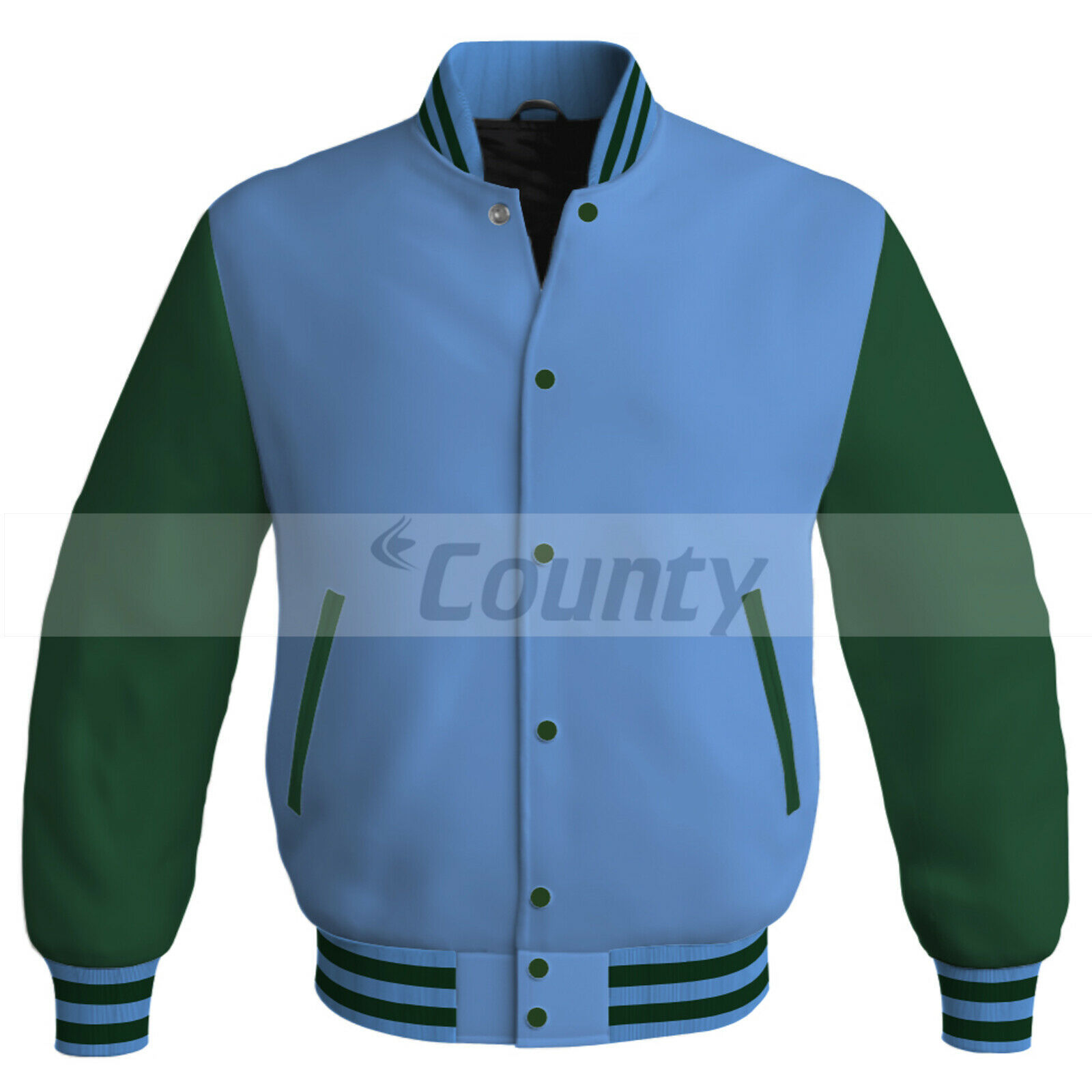 Primary image for Bomber Baseball Letterman College Jacket Sports Sky Blue Forest Green Satin