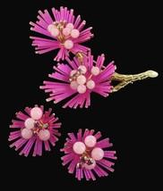 VINTAGE GORGEOUS DESIGNER FUCHSIA FLOWER SPIKES SPRAY PIN EARRING SET - $53.99