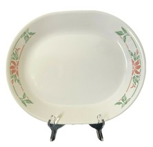 "Vintage Corelle ISLAND BREEZE 12-1/4"" Oval Serving Platter Poinsettia MINT - $17.81"